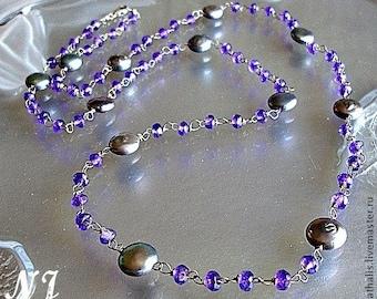 Amethyste gray pearl necklace