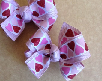 Pink & Red Valentine's Day Hair Bows, Toddlers Hair Bows, Girls Hair Bows, Valentines Day, Bows, Hearts, Piggytail Bows (Item #15-1032)