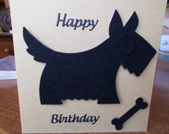 Black scotty dog,  Black scotty dog  card, Celtic  birthday card, scotty dog card.