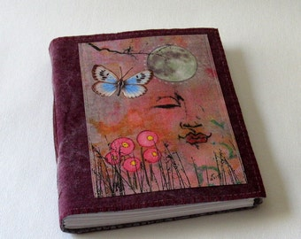 Peaceful Moments 07 journal -  waxed burgundy canvas mid size journal