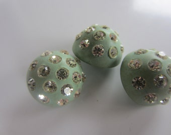 Vintage Buttons -  beautiful lot of 3, Rays design rhinestones light green, celluloid (oct 129)