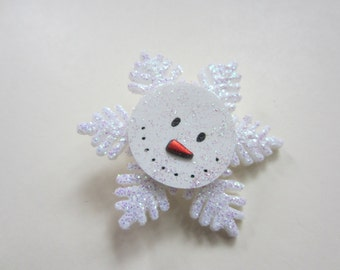 Snowflake Snowman  pin brooch in white