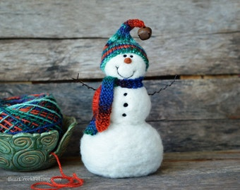 Snowman - handmade - needle felted- one of a kind -  736