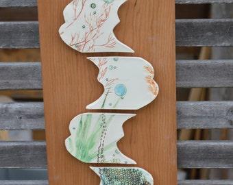 Hidden Octopus Tessellation Porcelain Wall Art Tiles on wood