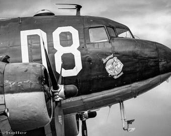 Nose Section Douglass C-47 Skytrain, Dakota, Gooneybird, Military Aircraft, Fine Art Black and White Photography Print