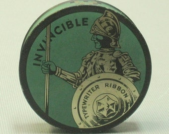 Vintage Invincible Typewriter Ribbon Tin Green and Gold