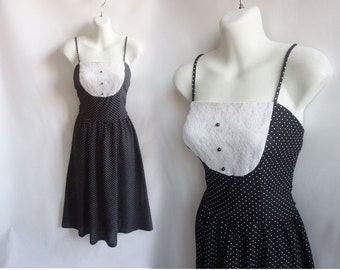 Vintage 70s Dress Size S Black Polka Dot Lace Strappy Midi Kawaii Tuxedo 60s