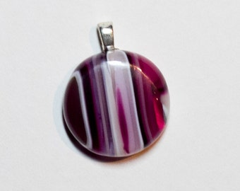 Petite Pink striped fused glass pendant - 232