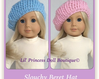 Hand Knit Slouchy Beret Hat Made To Fit American Girl Dolls. Color Choice!