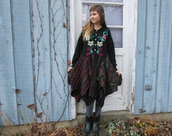 S-M Black Multi Upcycled Bohemian Sweater Dress// Floral// Repurposed Knit Dress// emmevielle