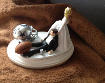 Wedding Cake Topper Bridal Dallas Cowboys NFL Funny Football  team  Football Themed with matching garter