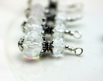Clear Multifaceted Rondelle Crystal Bead Dangle Charm Drop Set - Earring Dangle, Charm, Drop, Pendant, Wedding, Bride, Bridemaids