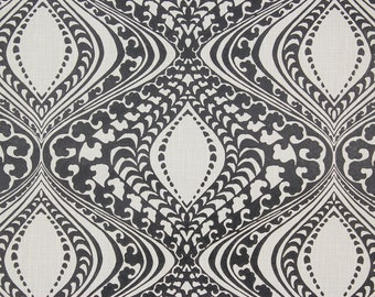 1970s Retro Vintage Wallpaper Cool Black and White Damask by the Yard