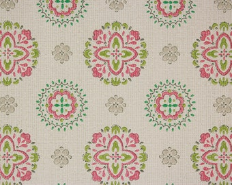 1960's Vintage Wallpaper Pink and Green Geometric