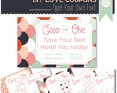 Printable Love Coupon Book -  Editable DIY Valentines Coupons - Last Minute Valentine - Perfect for Husband, Wife, Child, Loved One