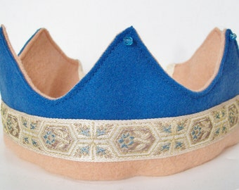 Wool Felt Crown with Tapestry Ribbon and  Cut-Crystal Beads