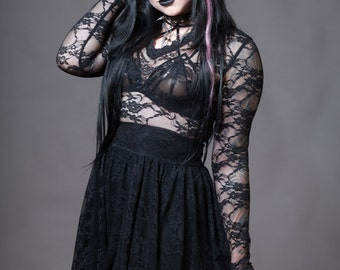 Plus Size Goth Lace Dress - Sheer Stretchy V-Neck Gothic - Long Sleeve Skater - Custom to Order 2XL-5XL