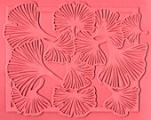 Flexible Rubber Stamp Sheet of Bordered Ginkgo for Scrapbooking, Metal Etching or Clay Impressing, 7 x 9, Hand Drawn