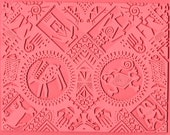 Reserved for Vickie Rubber Stamp Mat Intaglio Petroglyph and Individually Cut Southwest Figures to Impress
