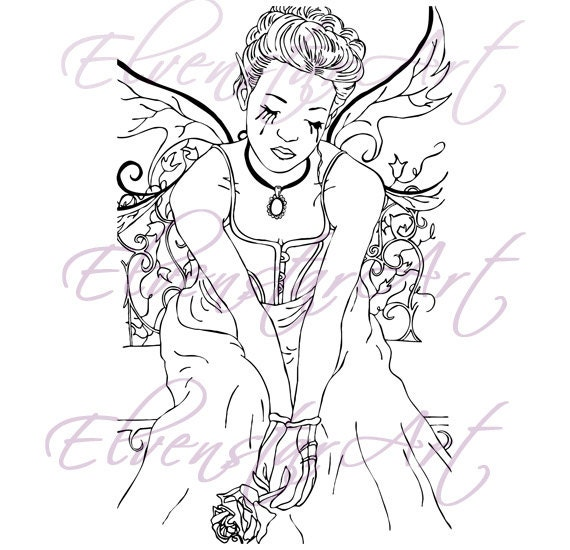 sad fairy coloring pages - photo#17