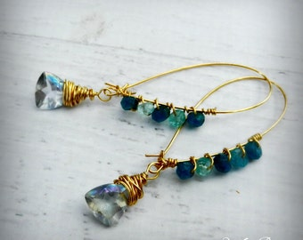 Mystic Quartz and Apatite Drop Earrings - 24k Gold Gemstone Earrings -  BOHO Chic - Gemstone Earrings - Haute Fashion - READY to Ship