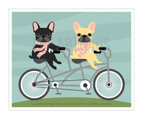 47F Dog Art Print - Two French Bulldogs on Tandem Bicycle Wall Art - Frenchie Print - Dog Riding Bicycle Print - Bicycle Decor - Dog Art