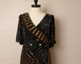 Vintage 1980's 1990's Argenti Silk Sequined Beaded Flapper Style Dress 4