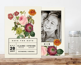 modern floral wedding save the date card, printable save the date, black and white floral save the date,  digital file, save the date magnet
