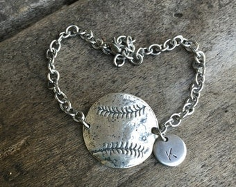 Baseball - Softball Open Link Bracelet Sterling Silver Charm With Number or Initial Baseball Mom ** SALE **