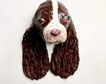SALE! Soppy Spaniel Head wall decor