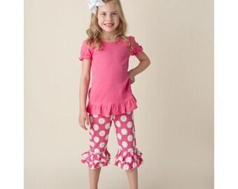 Ruffle Capri Set - Polka Dot Capris - Girls Capris and Shirt Set - Ruffle Capris - Ruffle Shirt - Girls Ruffle Outfit - Four Color Options!