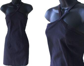 80s 90s Little Black Dress Body Con Mini Dress XS S