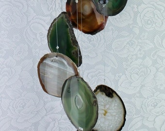 Agate Wind Chime, Hanging Mobile, Upcycled Recycled, Home Accent, Porch Veranda Patio Pergola Decor, Garden Decoration, OOAK Gift 80AWC08