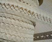 "Natural Woven Braid Trim - Criss Cross Pattern - Cream Sewing Braid Trim - 1 1/4"" Wide"