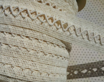 "Natural Woven Braid Trim - Criss Cross Pattern - Cream Sewing Braid Trim - 1 1/4"" Wide"