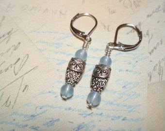 Blue Chalcedony Owls - Gemstone Lever Back Dangle Earrings