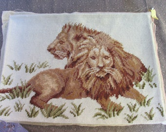 Finished needlepoint lion and lioness cream background vintage