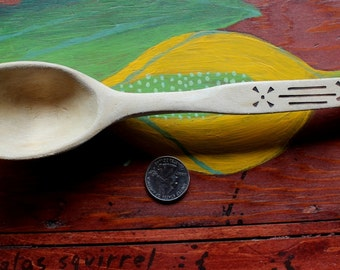 Vintage hand carved wooden spoon with wood burned handle decoration primitive rustic DESTASh