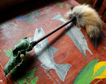 Coyote rattle - real painted coyote skull totem rattle with wooden handle, brass bells and coyote tail