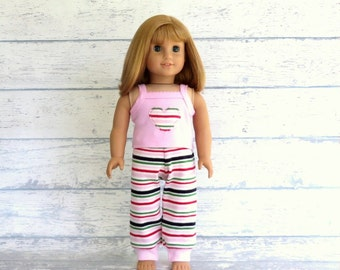 Sweet Dreams 18 inch Doll Pajamas, fits American Girl Doll, Reconstructed Gymboree PJs
