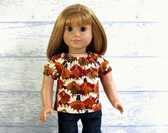 Pilgrim Turkey Top, 18 inch Doll Clothes Autumn Peasant Top, Doll Peasant Top