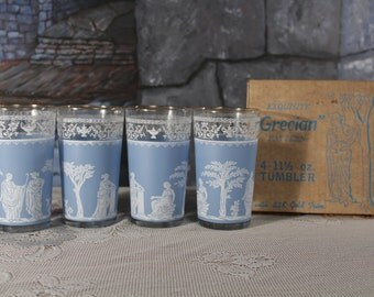 Retro 4 Grecian Glass Blue Goddess Tumbler Glasses Juice water Glass Vintage Bar Ware Gold Trim in box  Mad Men Mid century 50s Kitchen