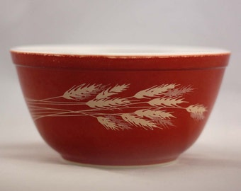 Autumn Harvest Pyrex Mixing Bowl - Red Orange with Wheat - Small 1.5 Liter #402