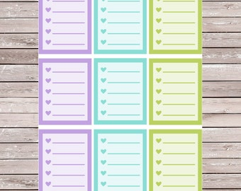 Purple Blue and Green Solid List Set of 9 Full Boxes Planner Stickers Erin Condren Planner Stickers, ECLP, Filofax, Kikki K