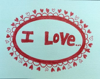 I love Pizza card and envelope