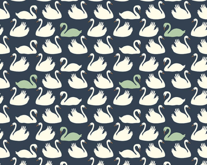 Swan Lake - Bevy in Dusk and Mint by Patrick & Andrea Patton for Birch Fabrics - Organic Cotton Knit Fabric