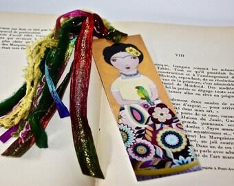Frida with Parrot -  Laminated Bookmark  Handmade - Original Art by FLOR LARIOS