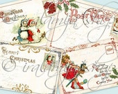 HEARTY CHRISTMAS Collage Digital Images -printable download file- Scrapbook Paper