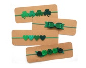 St. Patty's Day Headband   Felt and Glitter Headband   Felt Flower Crown   Clover Headband   Shamrock Headband   Heart Headband   Green Bow