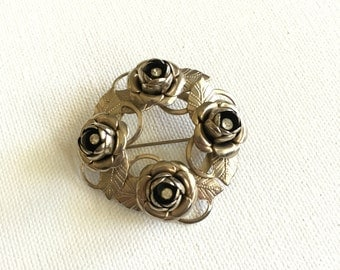 Vintage Silver and Rhinestone Rose Wreath Brooch